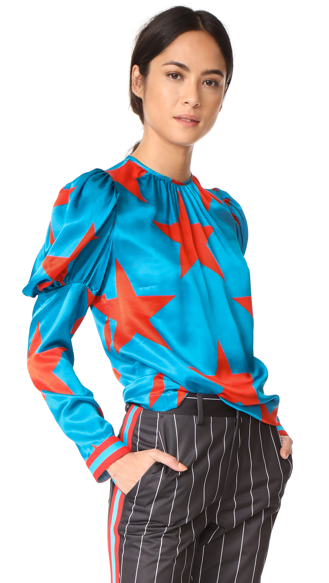 MSGM Star Print Silk Blouse - Teal Star