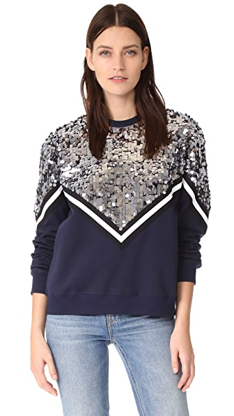 MSGM Sequin Chevron Sweatshirt - Navy