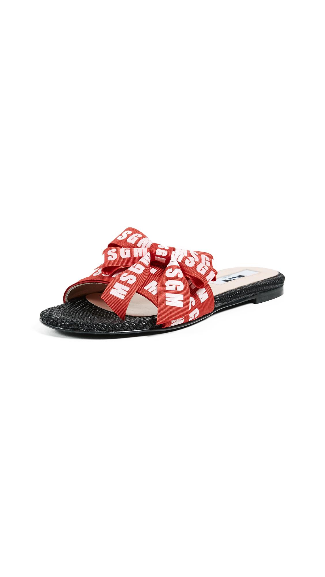 MSGM Logo Multi Strap Slipper Slides - Black/Red