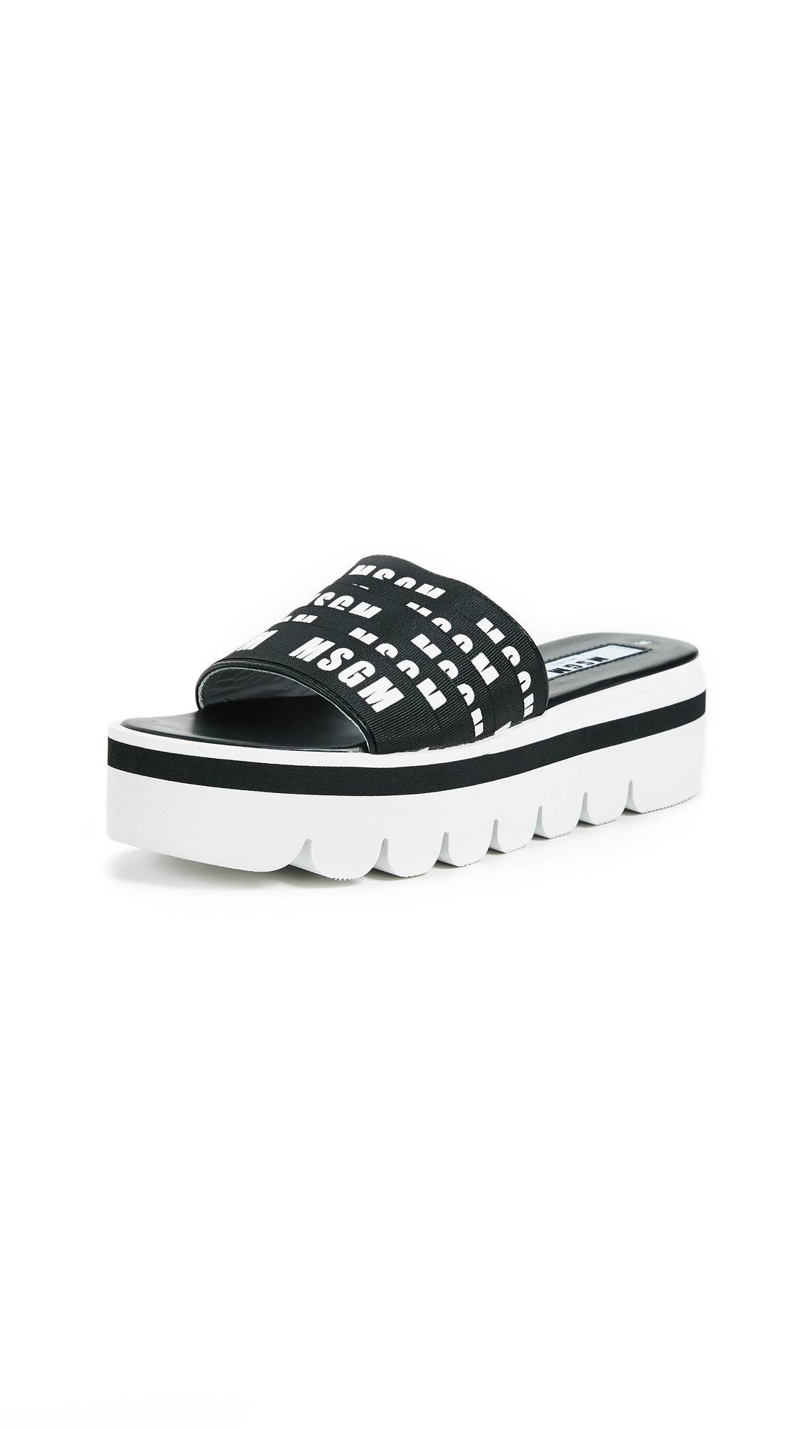 MSGM Multi Strap Logo High Wedge Sandals - Black/White