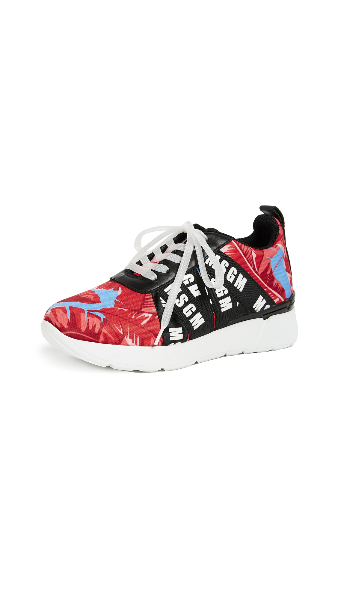 MSGM Multi Strap Runner Sneakers - Black/Leaf Print