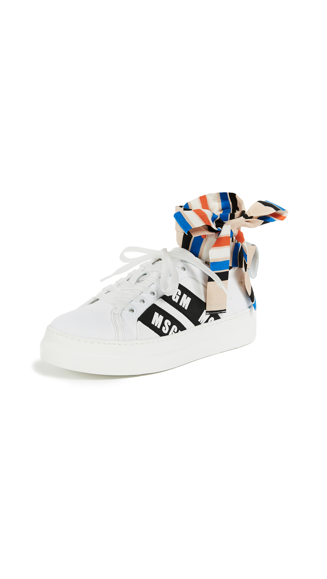 MSGM Ankle Knot Lace- Up Sneakers with Cup Sole - White/Stripe