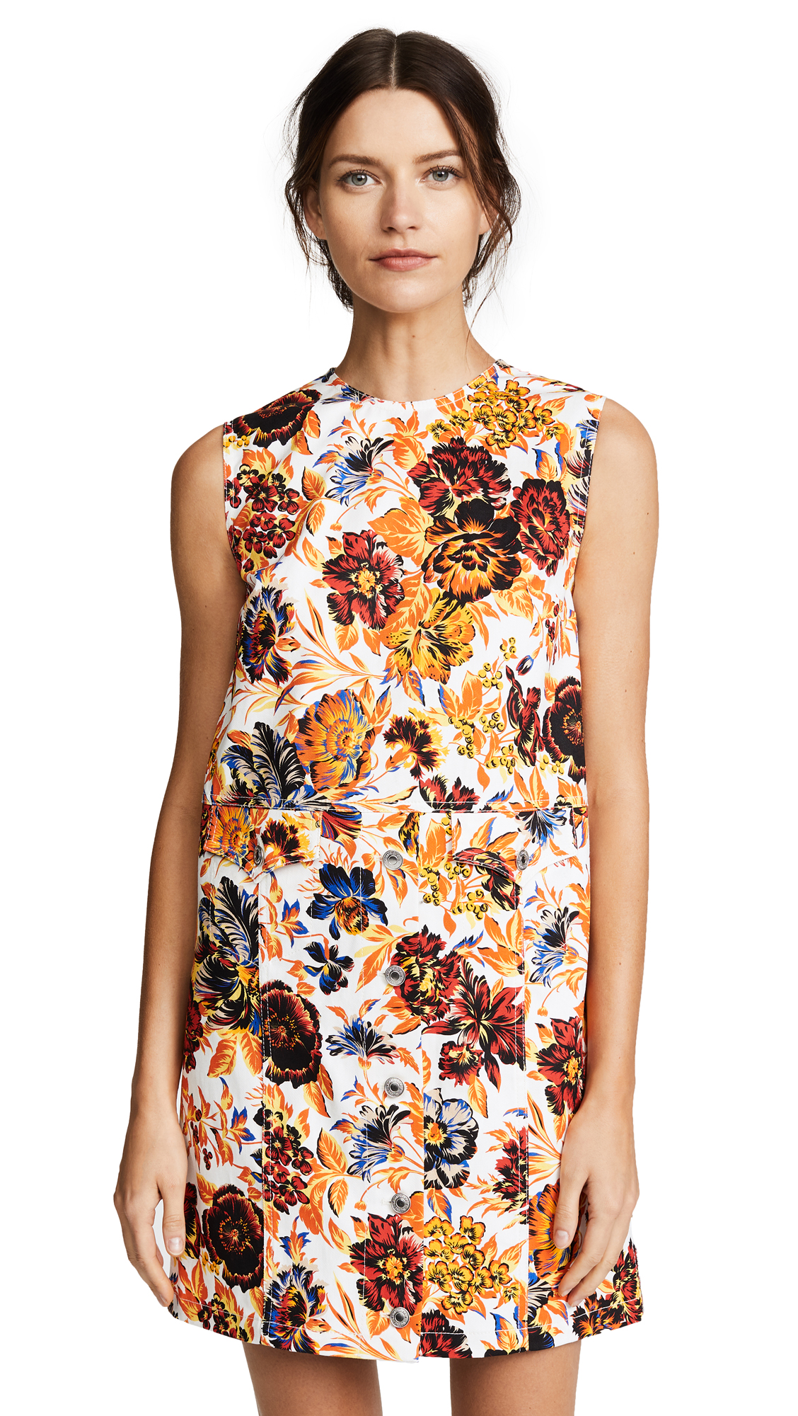 MSGM Floral Shift Dress In White