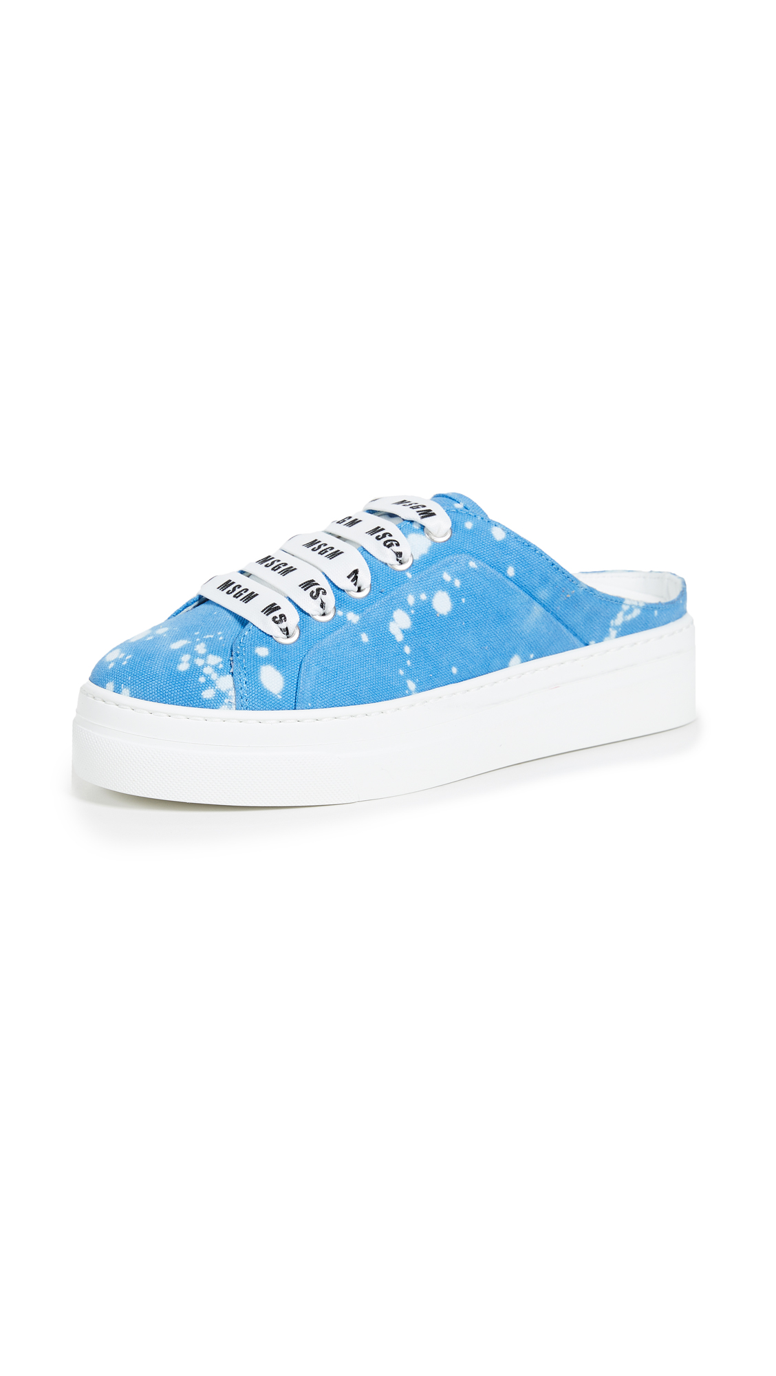 MSGM Two Tone Drip Mule Sneakers - Blue/White