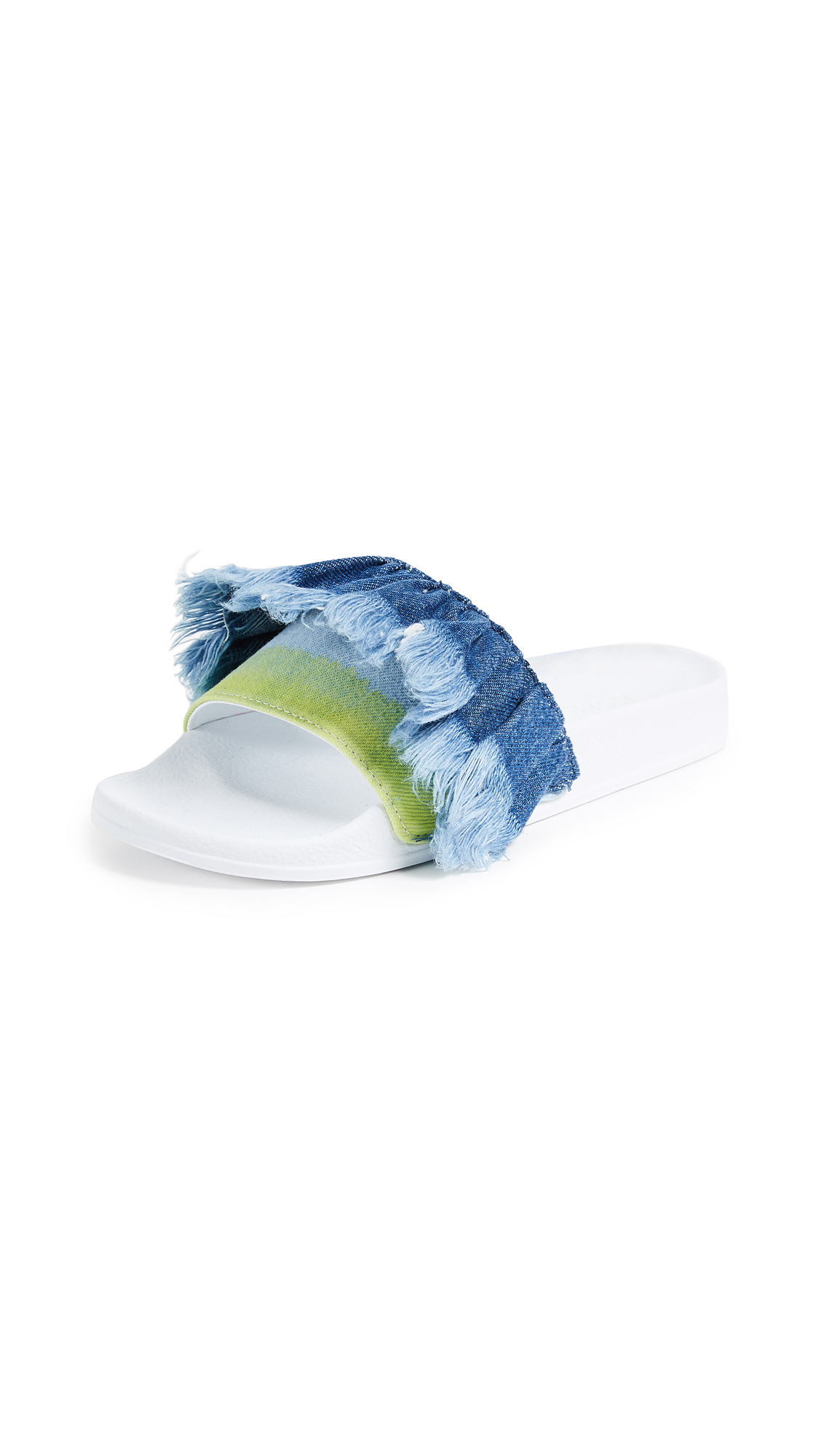 MSGM Tie Dye Pool Slides - Dark Denim/Yellow