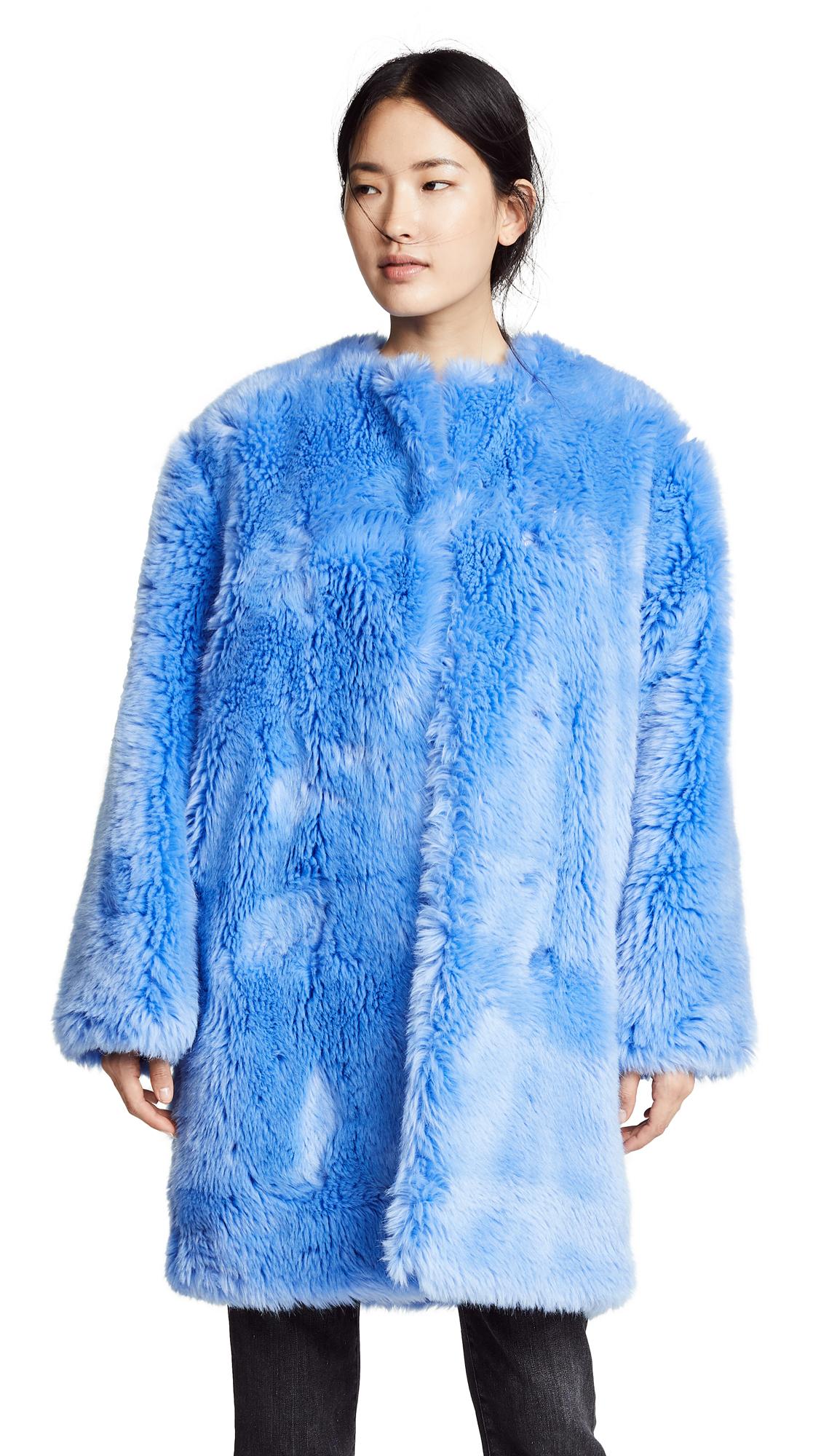 MSGM Faux Fur Long Coat In Blue