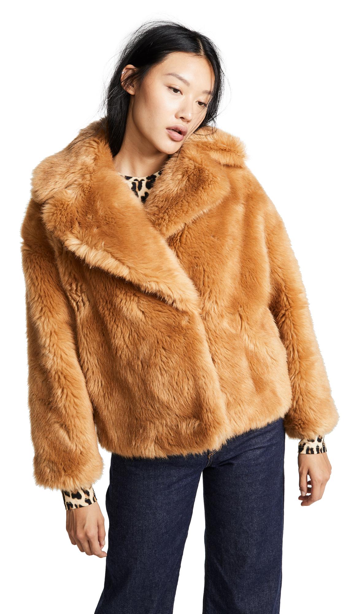 Faux Fur Short Jacket in Brown