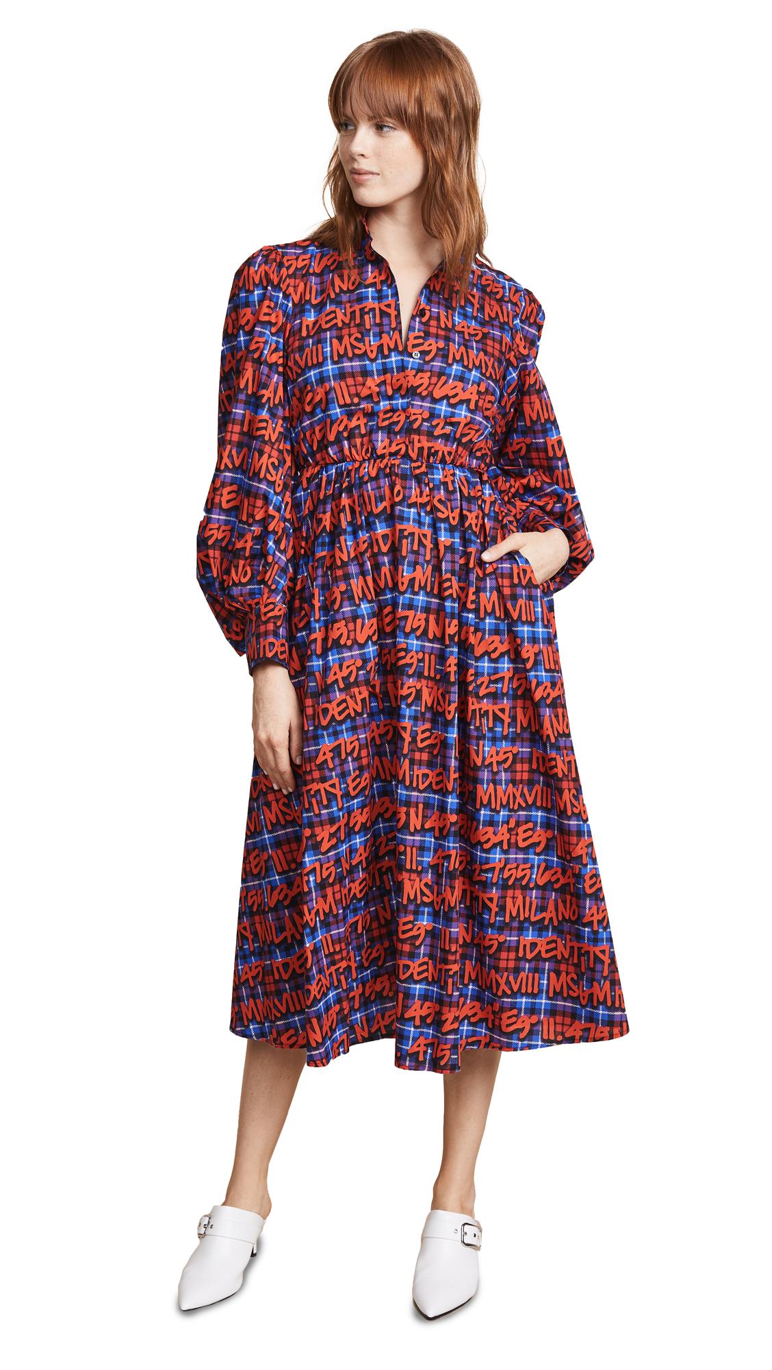 MSGM Plaid Logo Dress