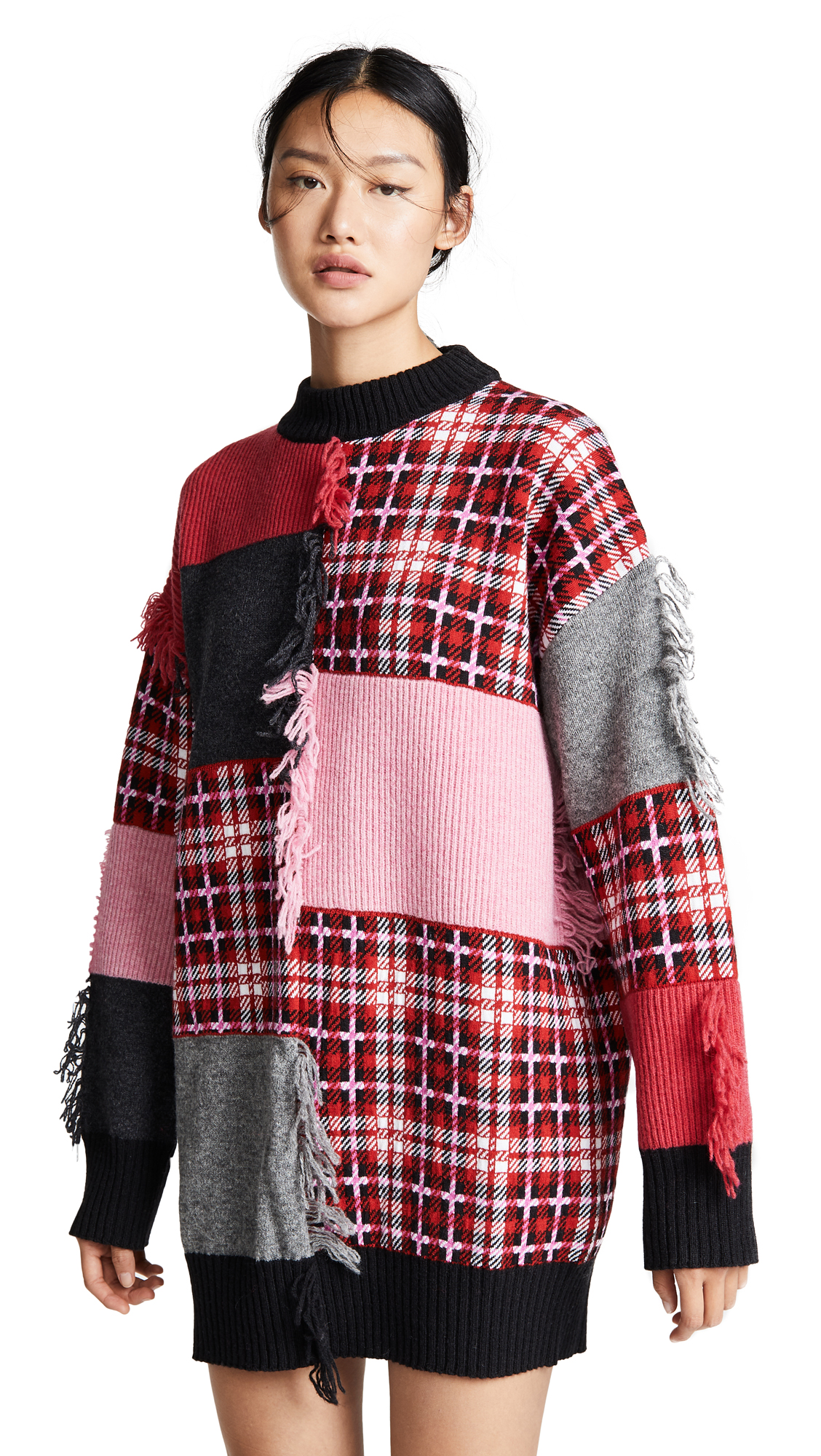 MSGM Mixed Media Sweater Dress In Pink/Red