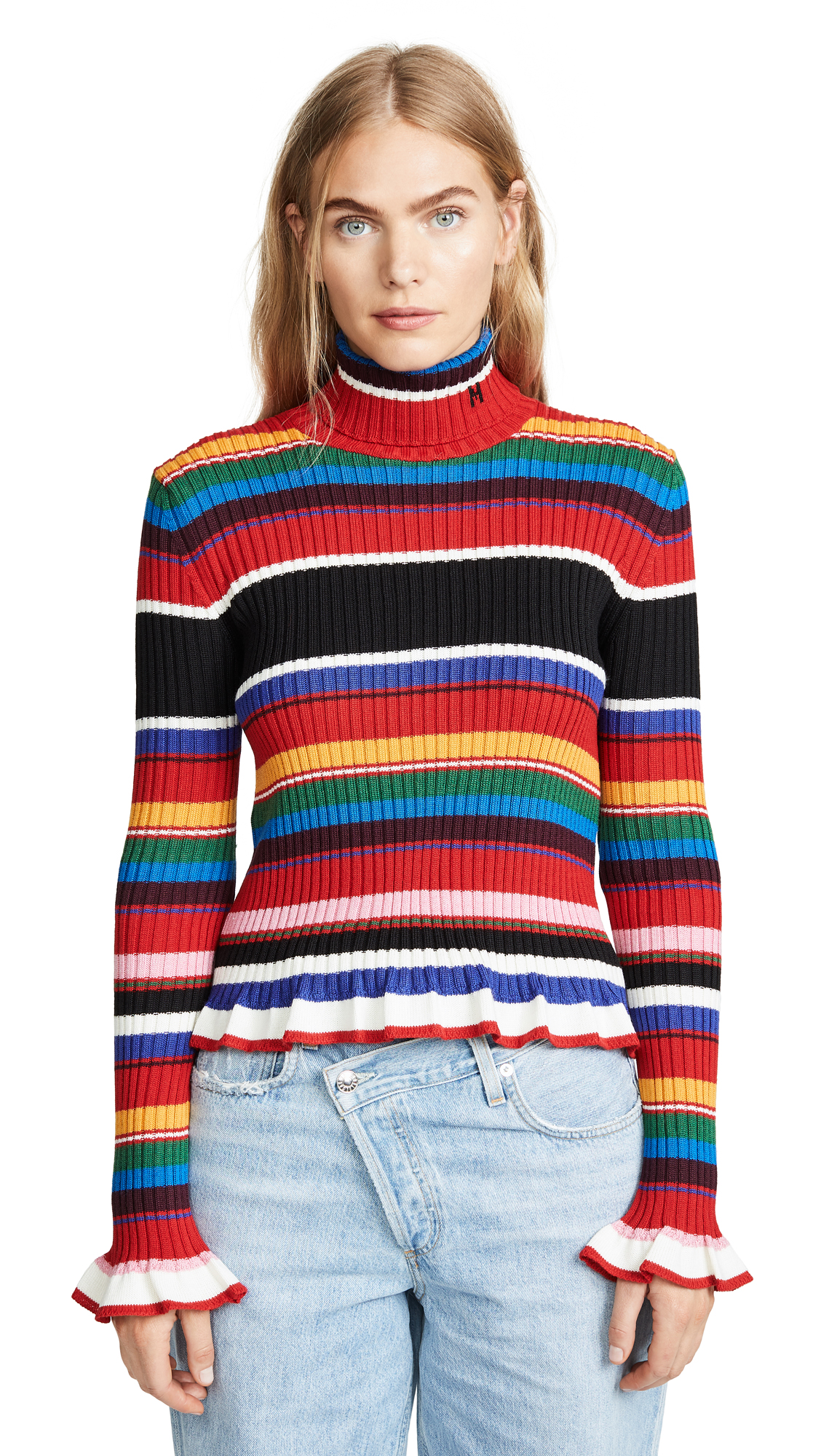 MSGM Turtleneck Sweater In Multi
