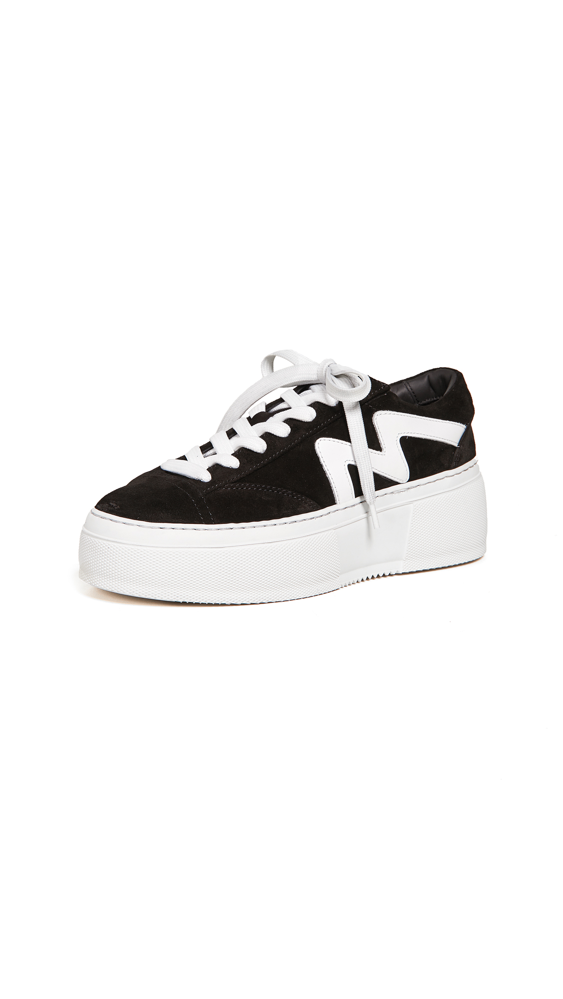 MSGM Lace Up Cupsole Sneakers - Black/White