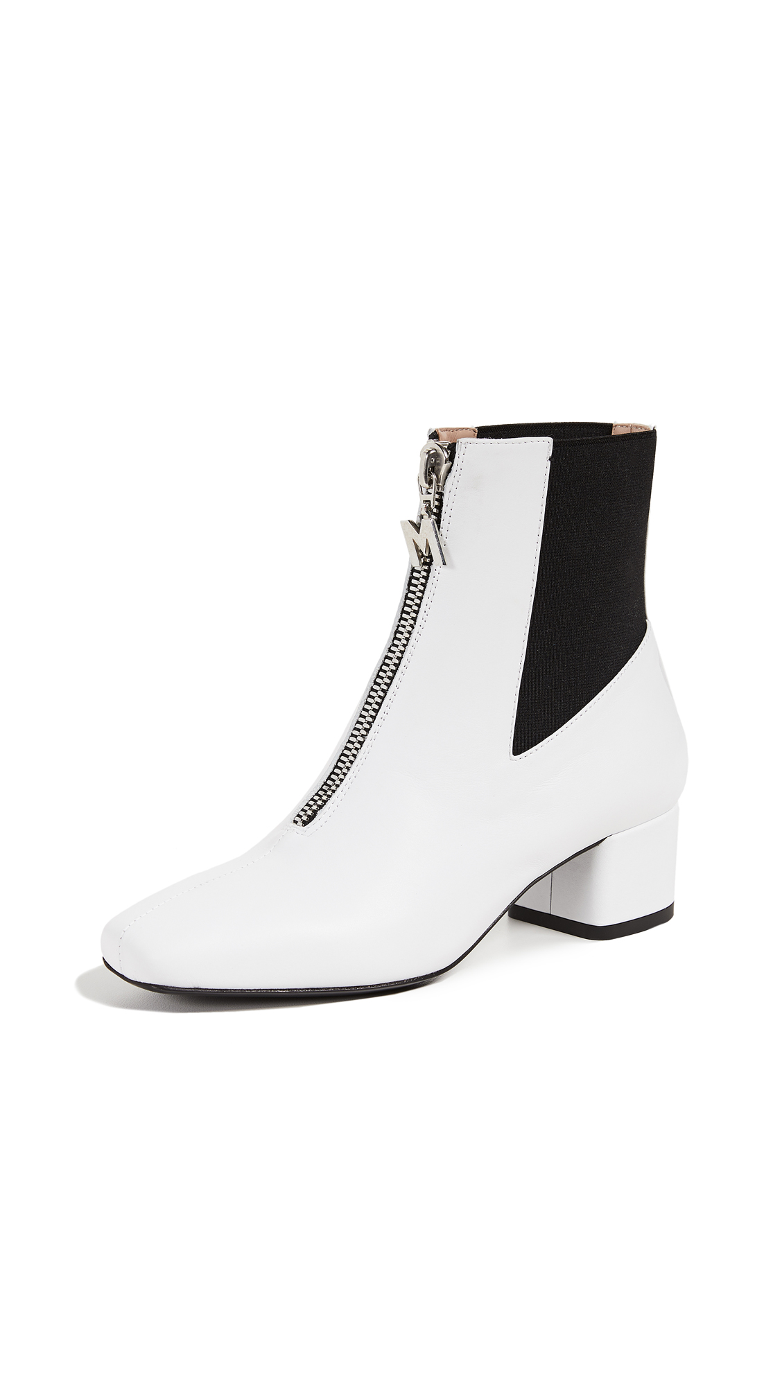 MSGM Zip Chelsea Booties - White/Black