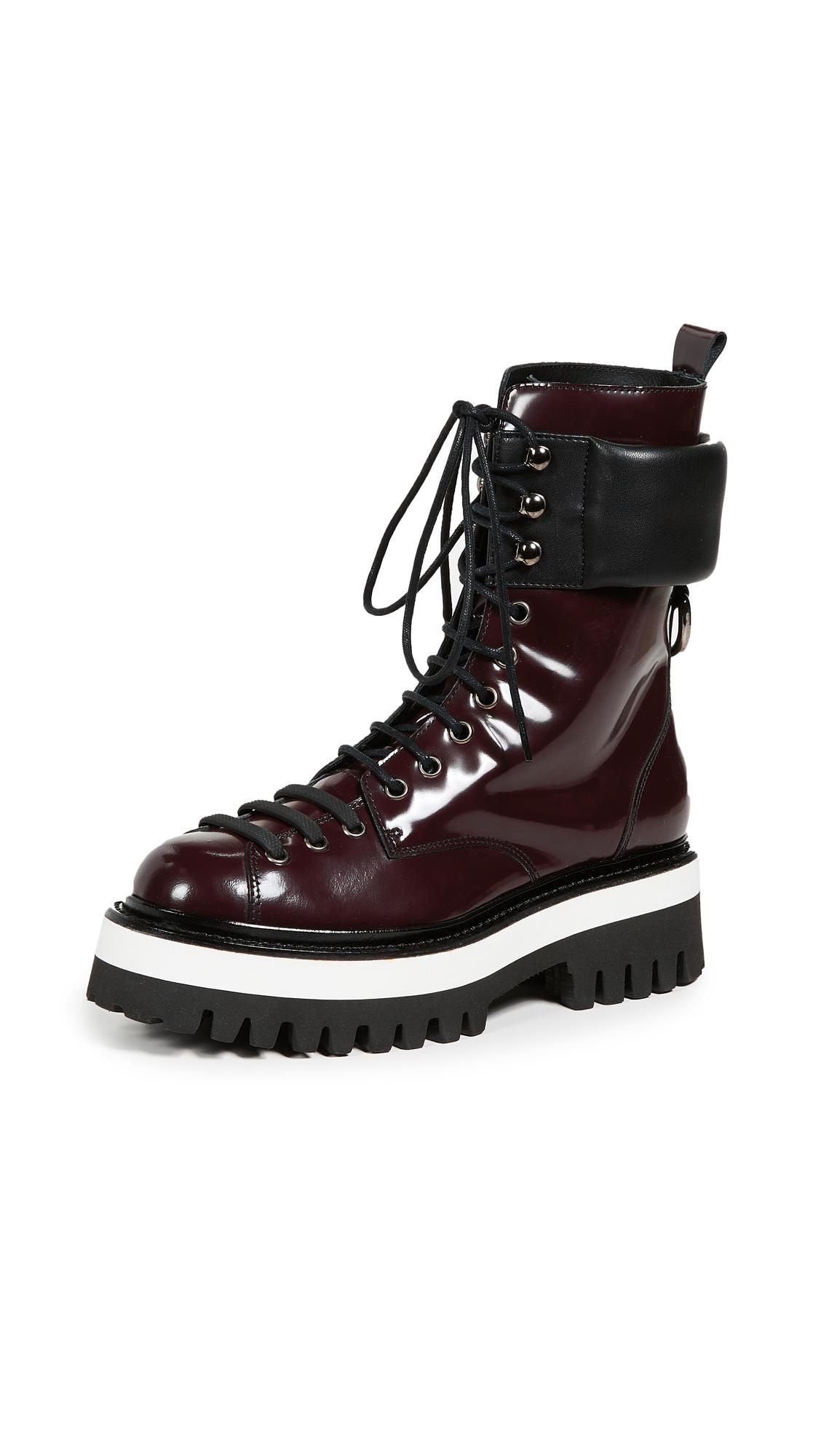 MSGM Lace Up Boots - Bordeaux