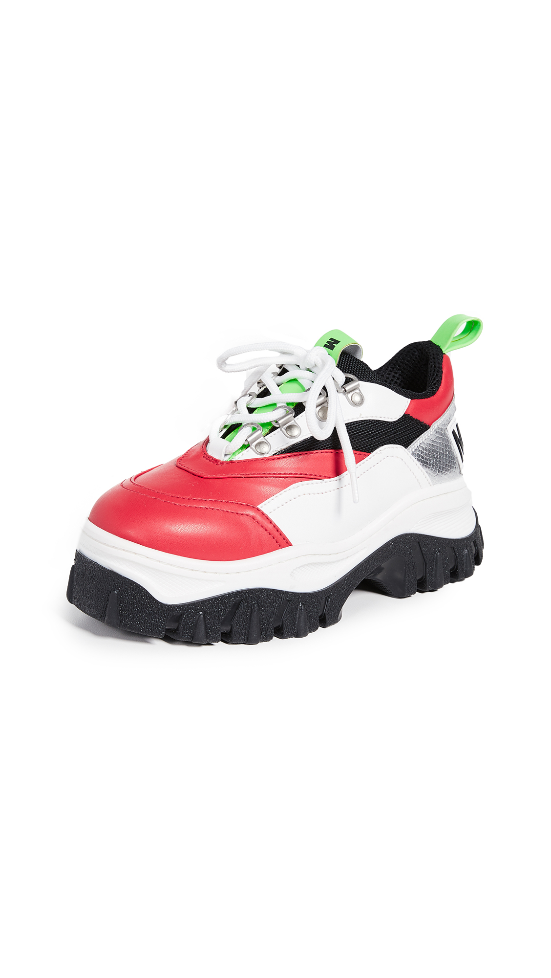 MSGM Tractor Block Lace Up Sneakers - Red/Neon Green