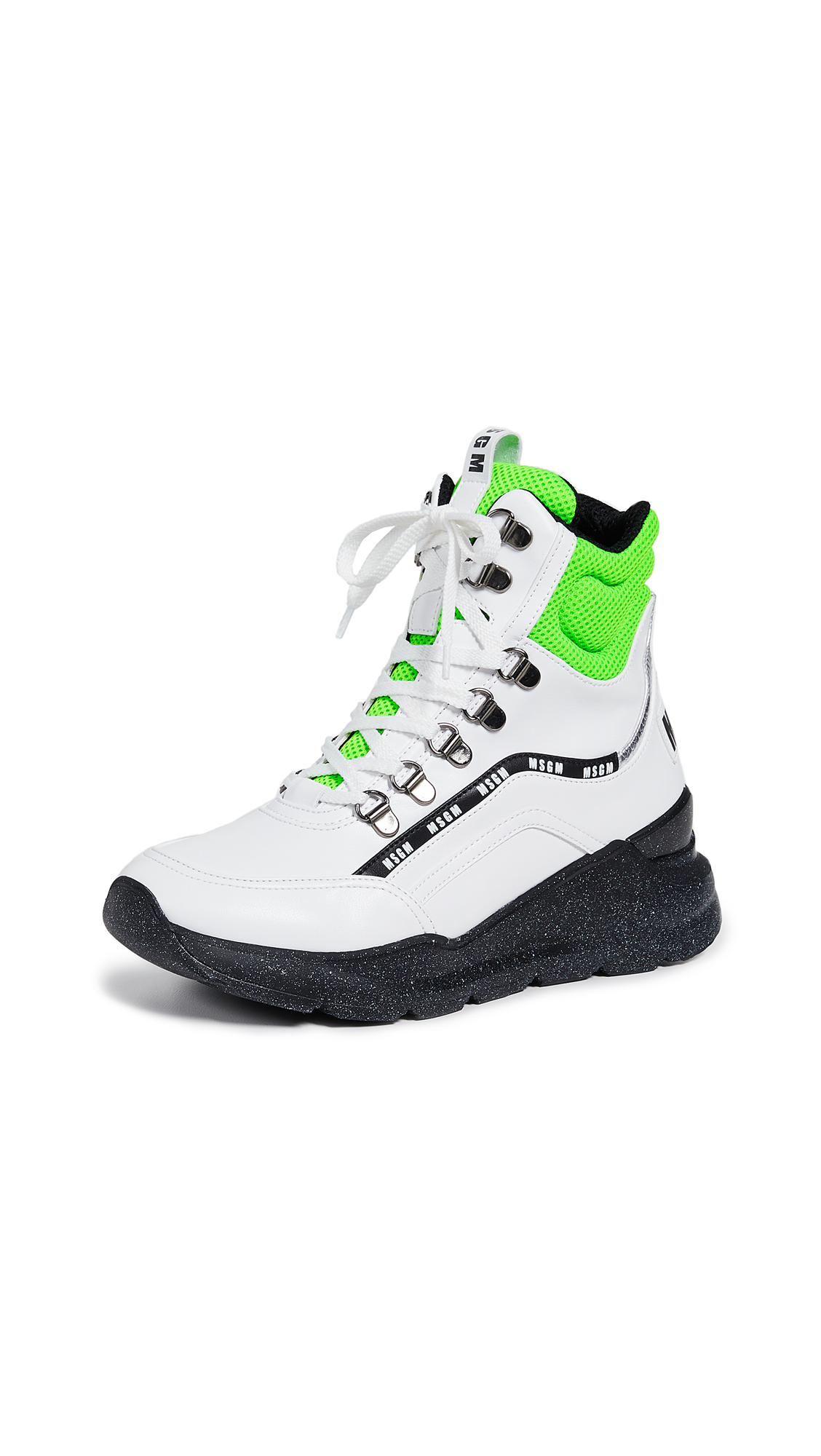 MSGM Chunky Running Lace Up Mid Sneakers - White/Neon Green