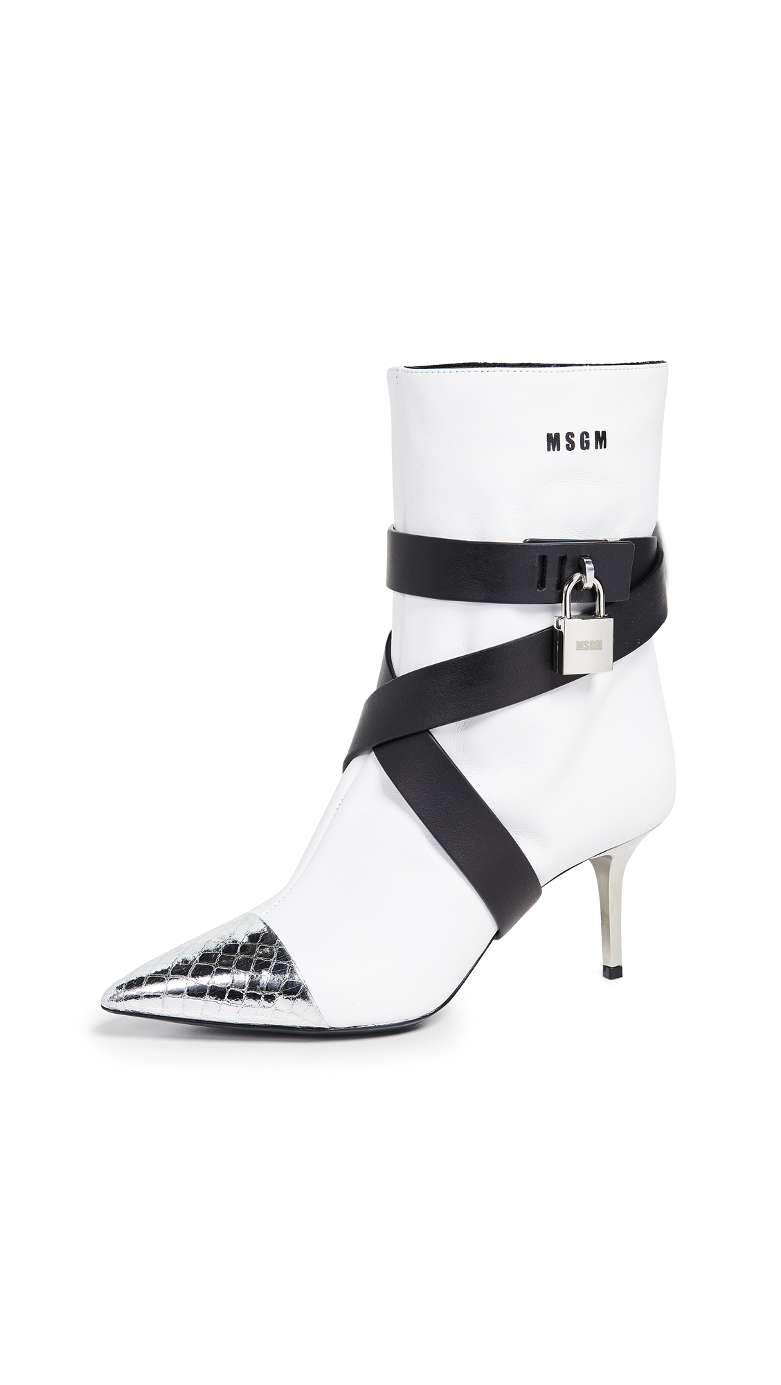 MSGM Ankle Boots - White/Black