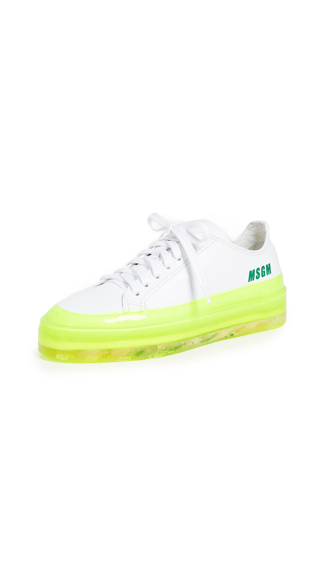 MSGM Floating Sneakers - White/Neon Yellow