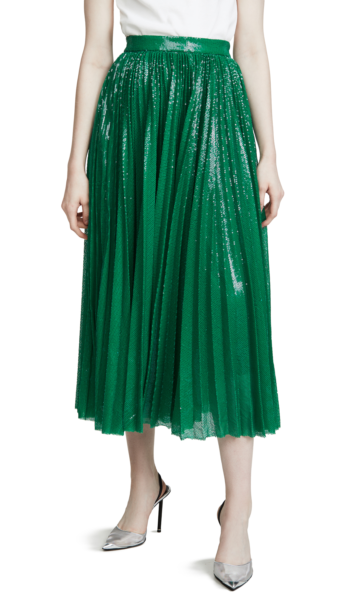 Buy MSGM online - photo of MSGM Pleated Sequin Skirt