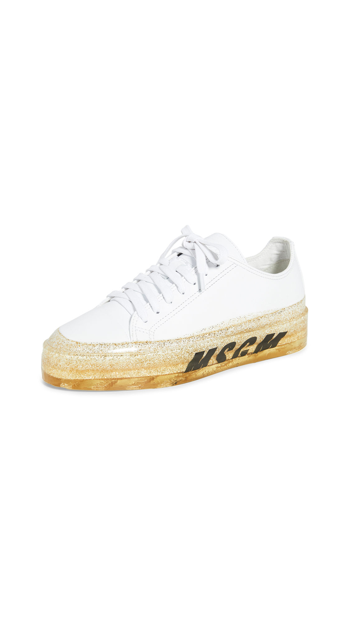 Buy MSGM online - photo of MSGM Glitter Sole Sneakers