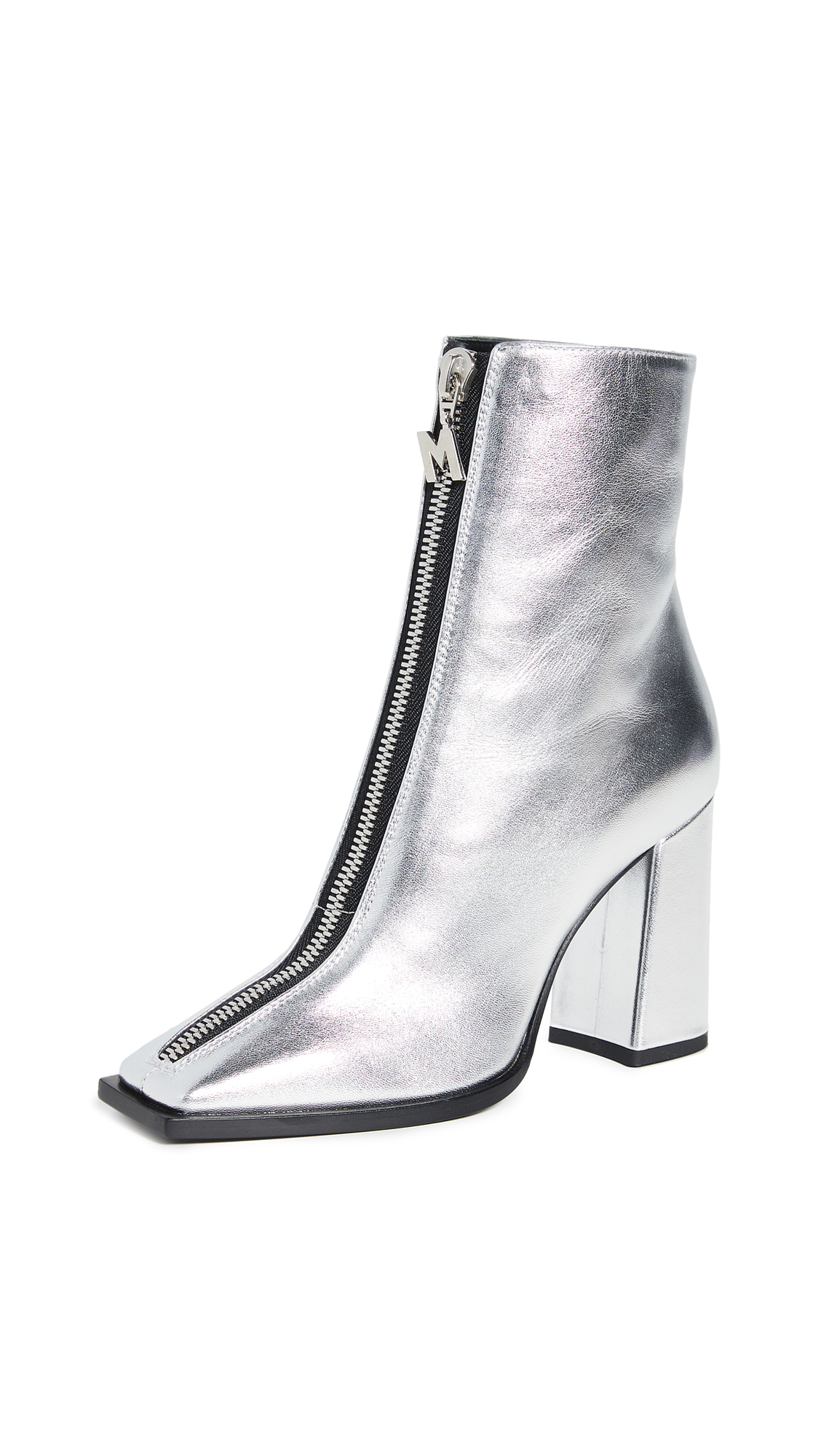 Buy MSGM online - photo of MSGM Square Toe Zip Ankle Booties