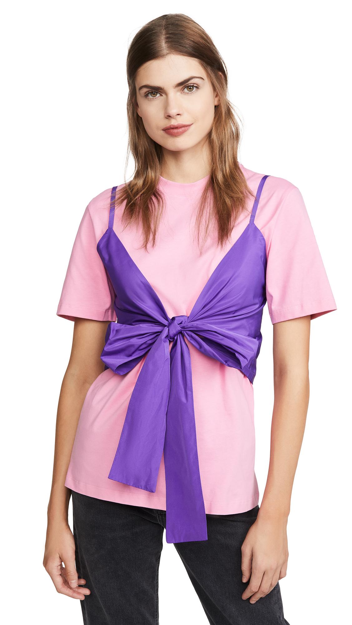 MSGM Tie Front T-Shirt Blouse – 60% Off Sale