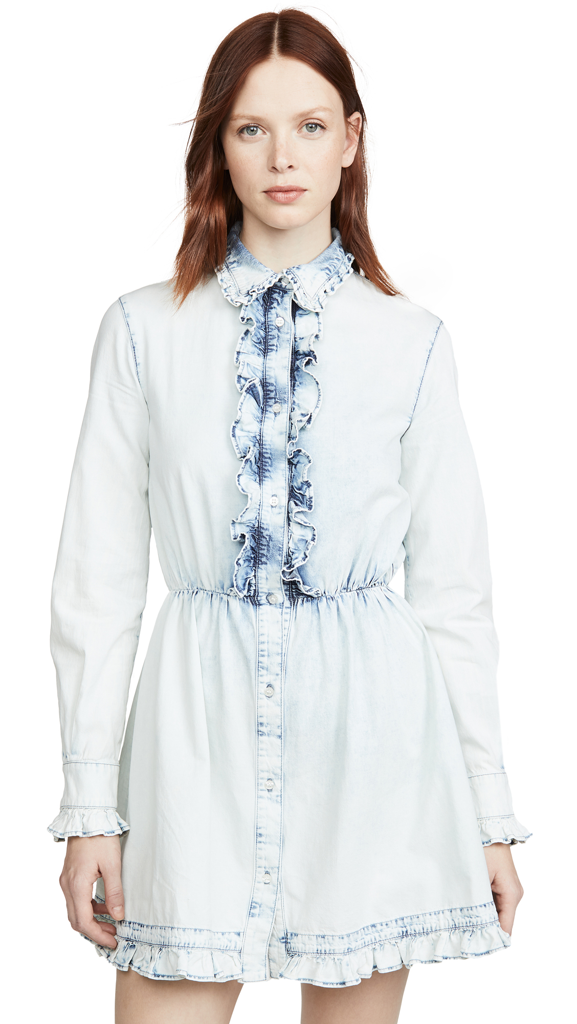 Buy MSGM online - photo of MSGM Denim Collared Shirt Dress