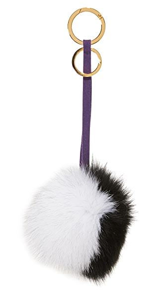Mischa Lampert 2 Tone Pom Bag Charm - Black/White/Purple/Gold