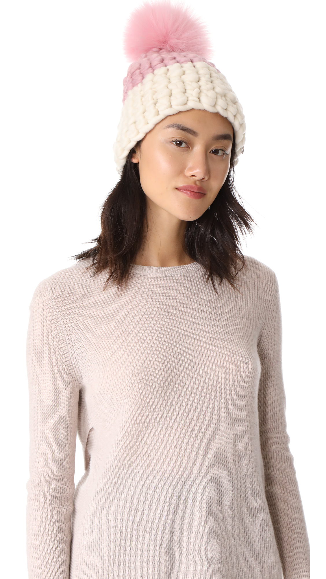 Mischa Lampert Deep Beanie Colorblock Hat - Dusty Rose/White/Pink