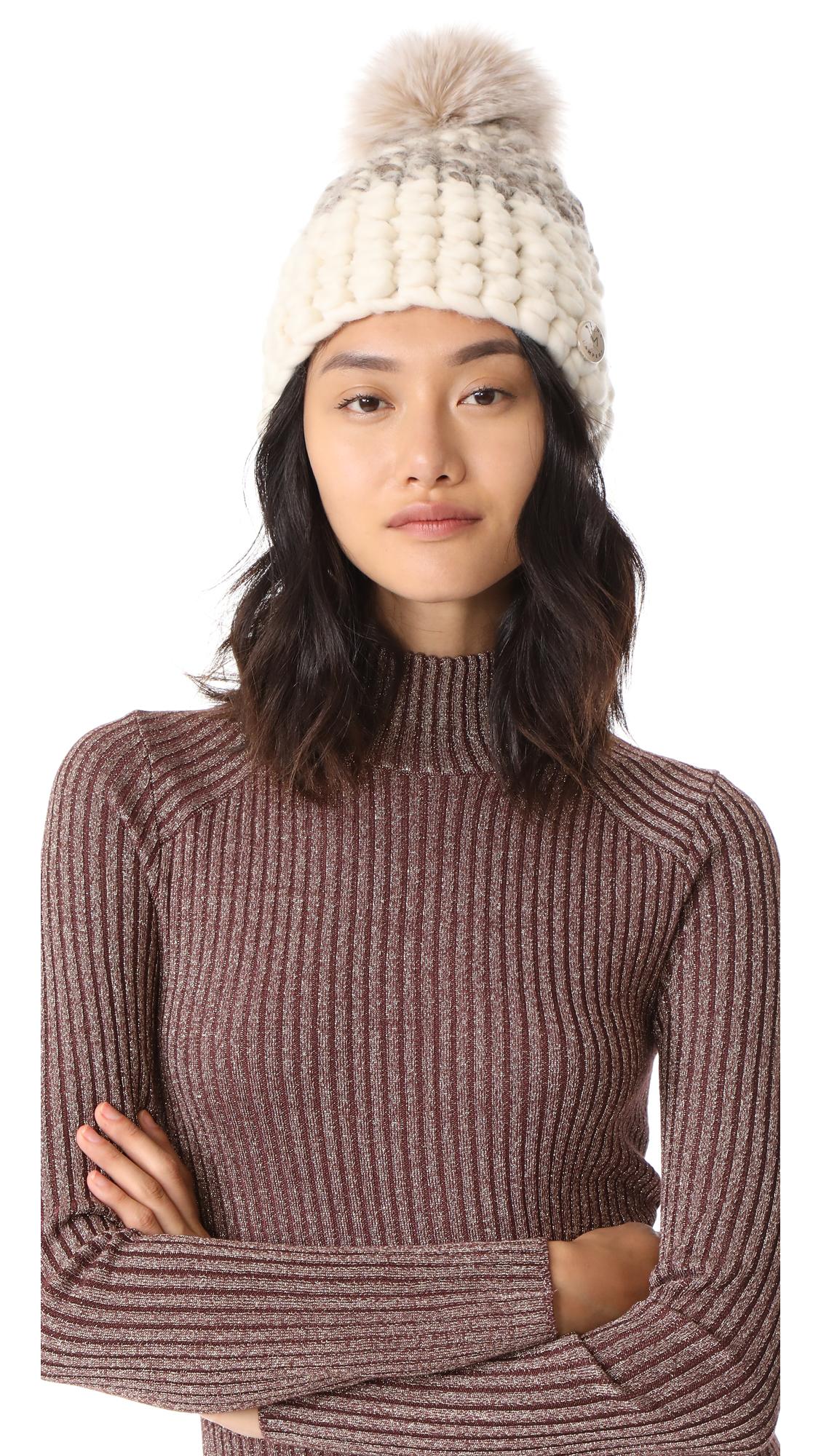 Mischa Lampert Deep Beanie Colorblock Hat - Marble/White/Blush