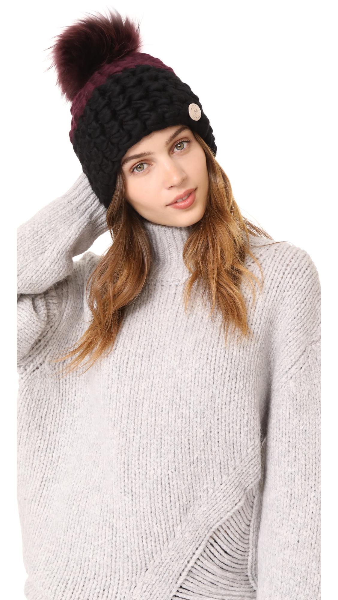 Mischa Lampert Deep Beanie Colorblock Hat - Aubergine/Black/Mauve