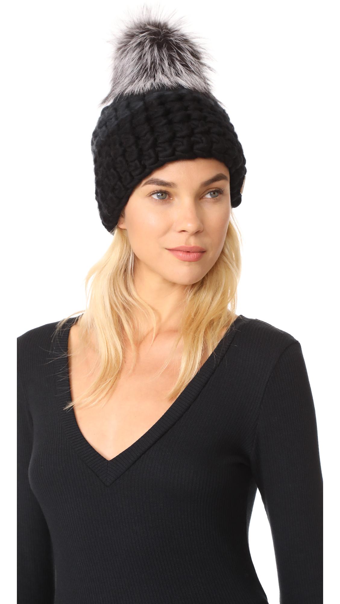 Mischa Lampert Deep Beanie Colorblock Hat - Dark Grey/Black/Silver Fox