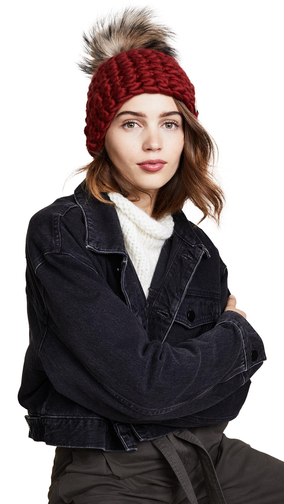 Mischa Lampert Beanie Pomster Hat - Cherry/Natural