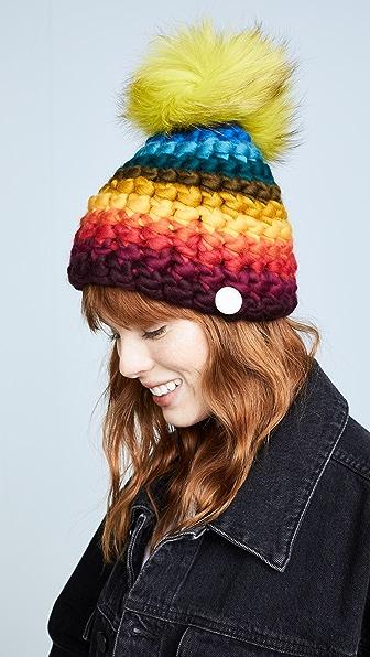 Mischa Lampert Stripe Rainbow Beanie Hat - Rainbow Bright/Neon Green