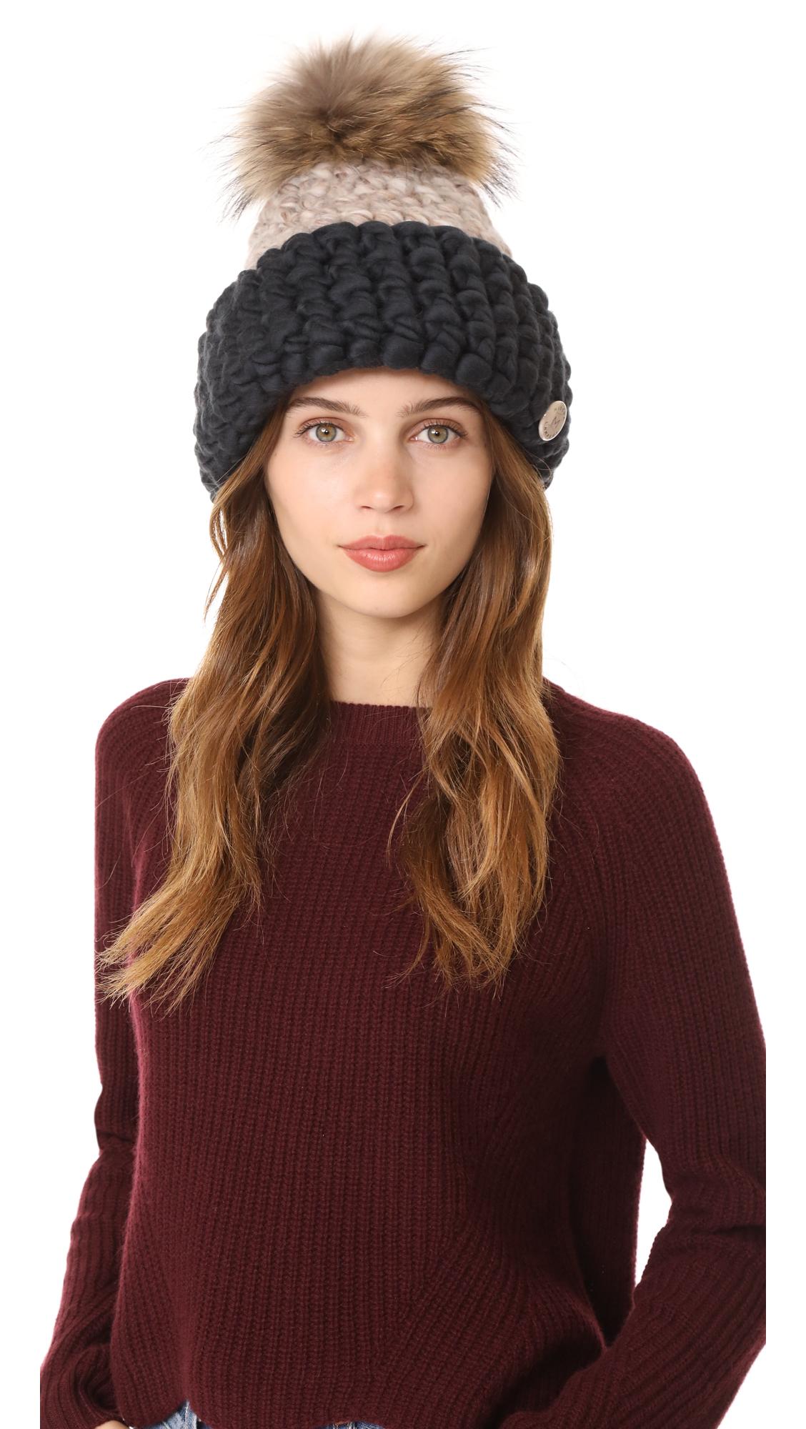 Mischa Lampert Fold Beanie Hat - Taupe/Dark Grey/Natural