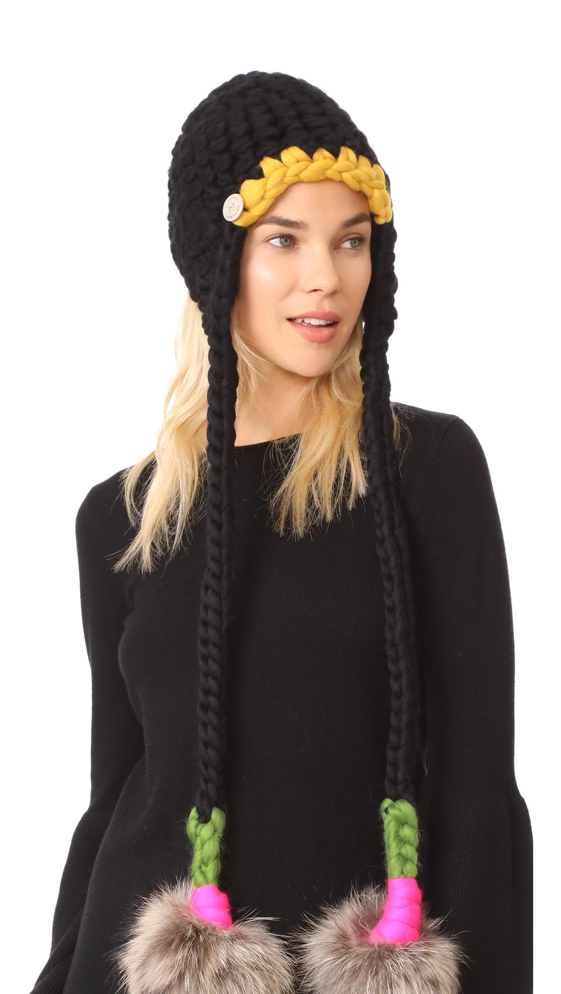 Mischa Lampert Nolita Hat - Black/Green/Magenta/Natural