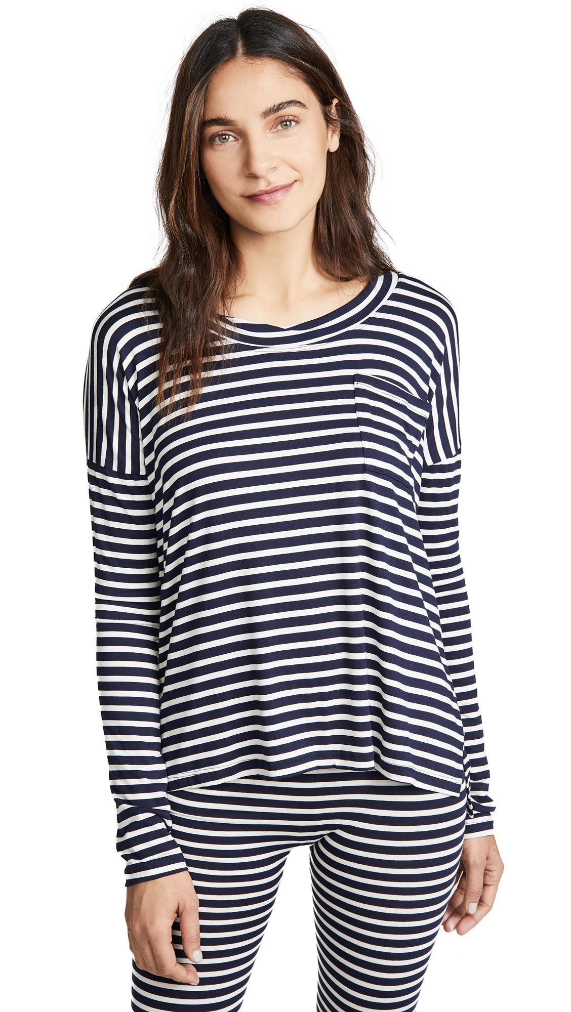 MAISON DU SOIR Edith Pajama Top in Navy Stripe