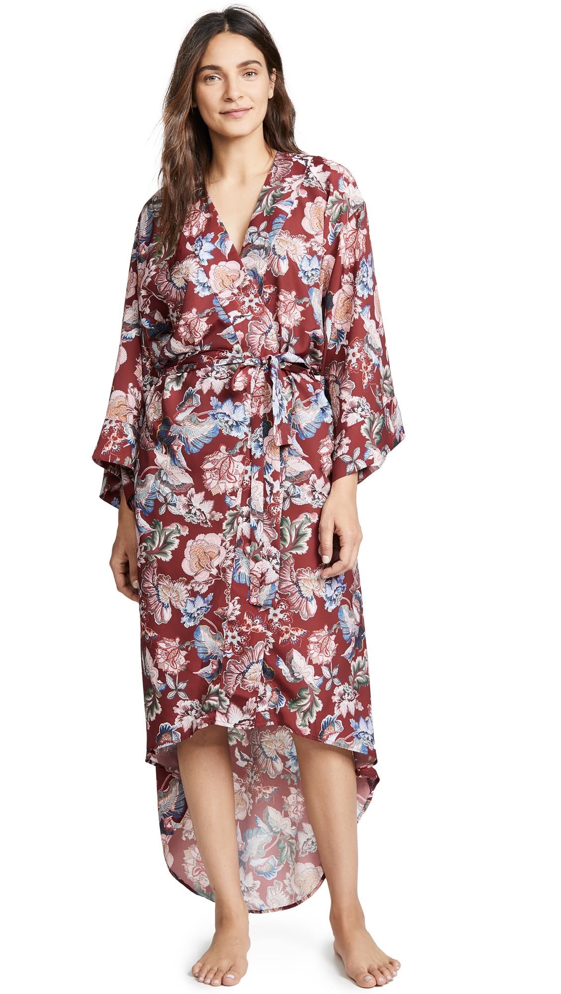 MAISON DU SOIR Isabella Robe in Brick Red Floral
