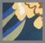 синий лебедь с цветочным рисунком