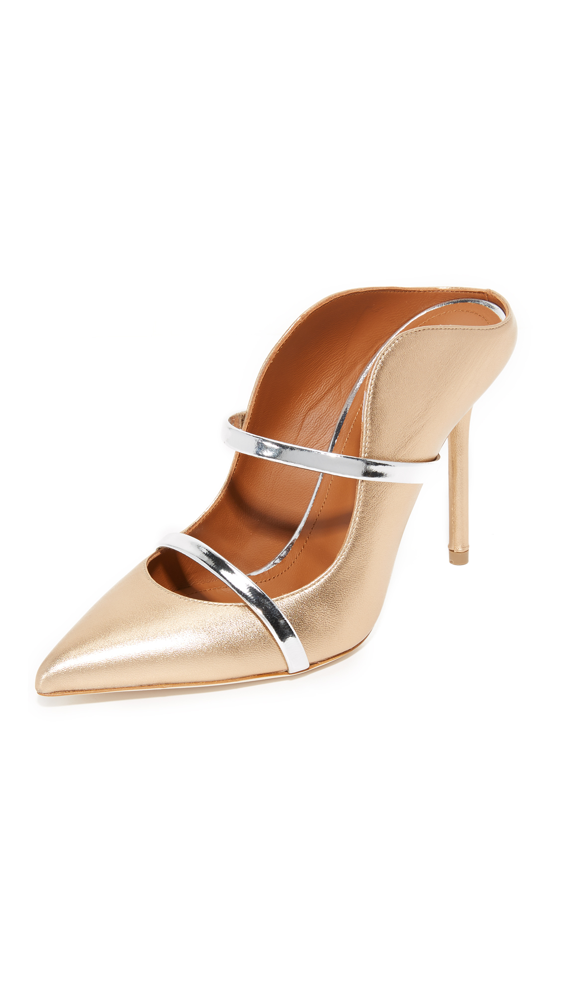 Malone Souliers Maureen Mules - Gold/Silver