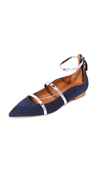 Malone Souliers Robyn Flats - Navy/Silver
