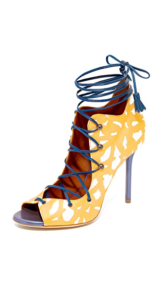 Malone Souliers Savannah Lace Up Sandals - Yellow/Beetle Blue
