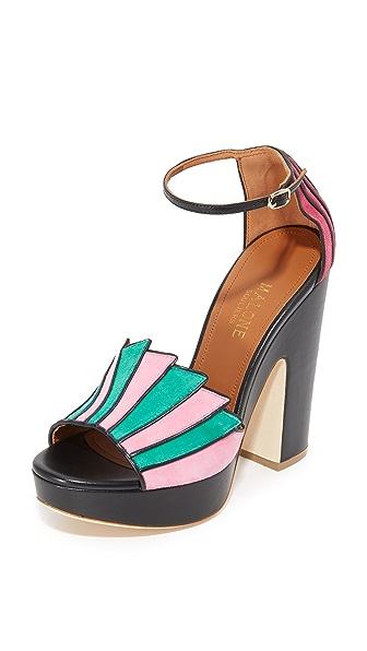 Malone Souliers Lillian Platform Sandals - Flamingo/Emerald/Black