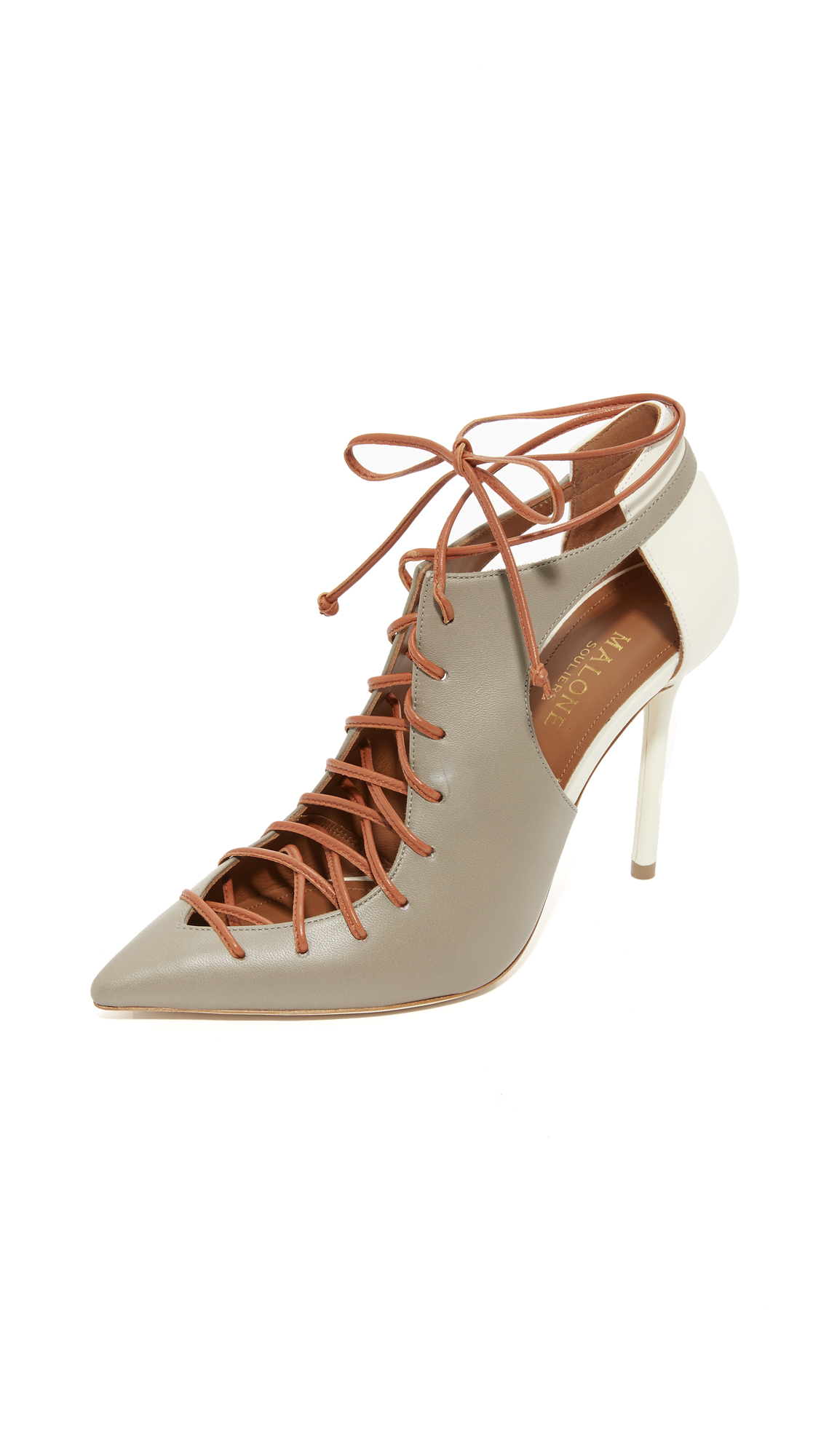 Malone Souliers Montana Lace Up Pumps - Grey/White/Caramel