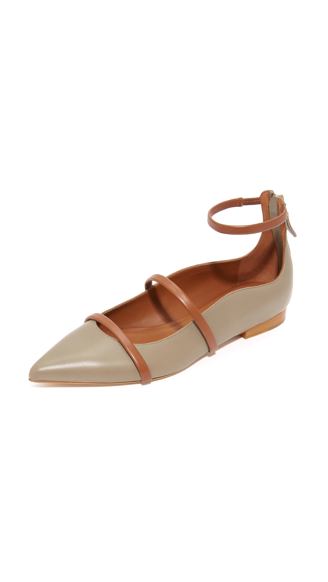Malone Souliers Robyn Flats - Grey/Cocoa