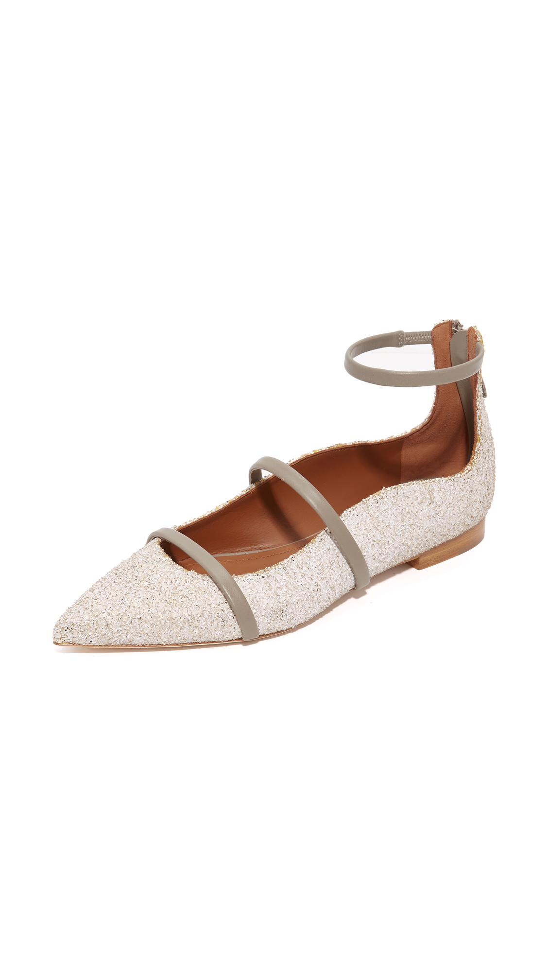 Malone Souliers Robyn Flats - White/Grey
