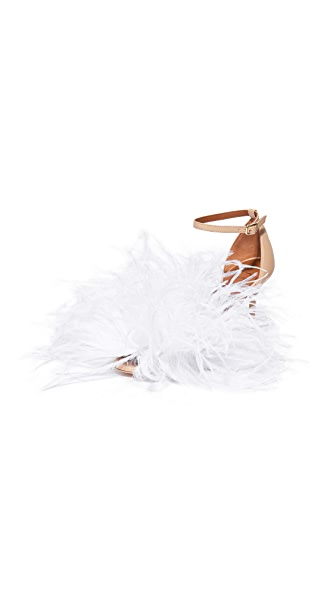 Malone Souliers Nicoletta Feather Sandals - Nude/White