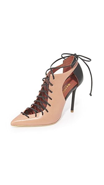 Malone Souliers Montana Lace Up Pumps - Nude/Black
