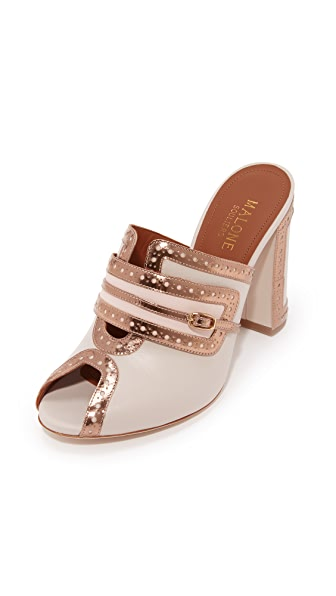 Malone Souliers Mabel Peep Toe Mules - Light Grey/Pink/Rose Gold