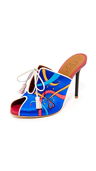 Malone Souliers x Natalia Vodianova Natalia Mules - Blue/Light Grey/Red/Black
