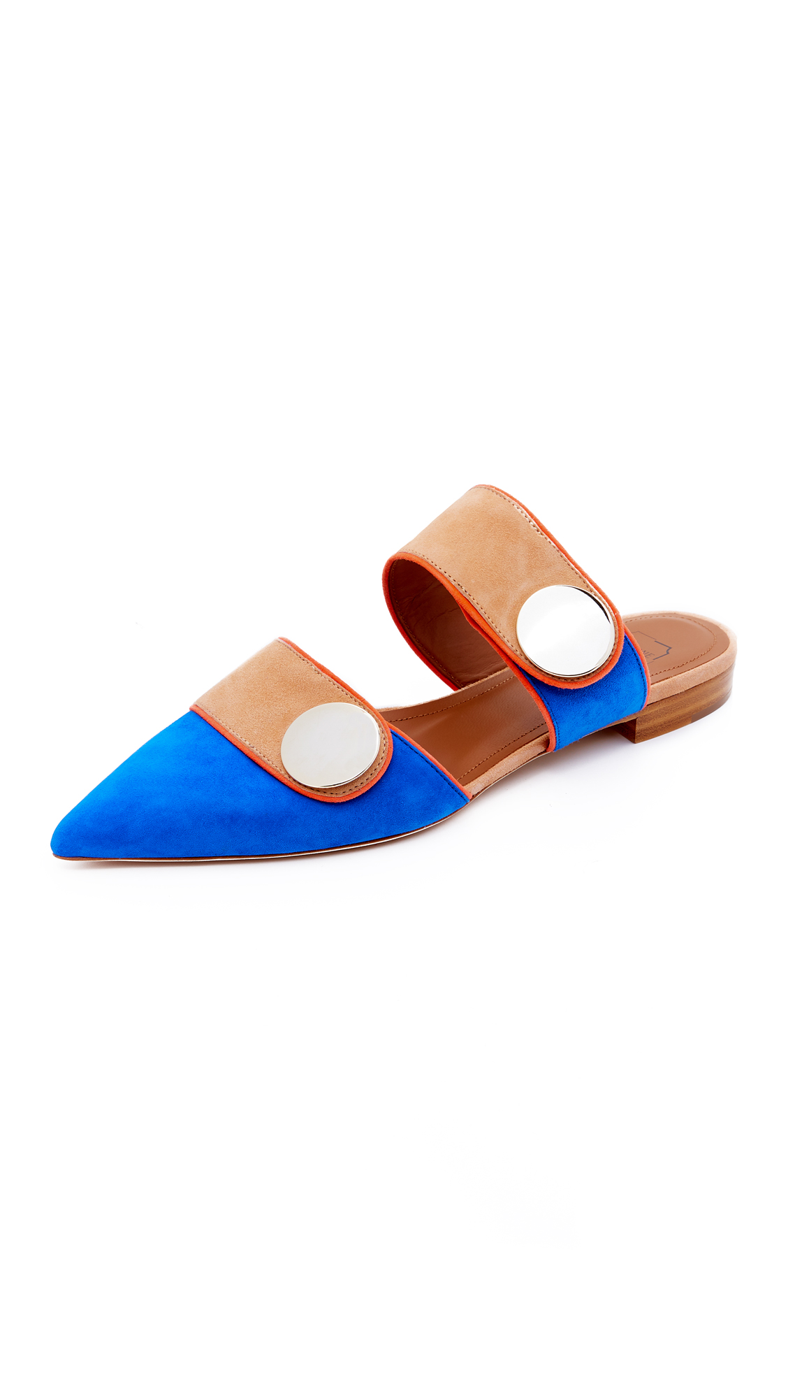 Malone Souliers x Roksanda Lee Slip On Flats - Blue/Peach Pie/Orange